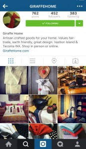 Giraffe Home offers a beautiful array of product images in lifestyle settings in its Instagram account - making it easy for its followers to see the products in their own homes.