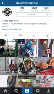Manos Zapotecas alternates images of artisans and lifestyle shots in its Instagram account.